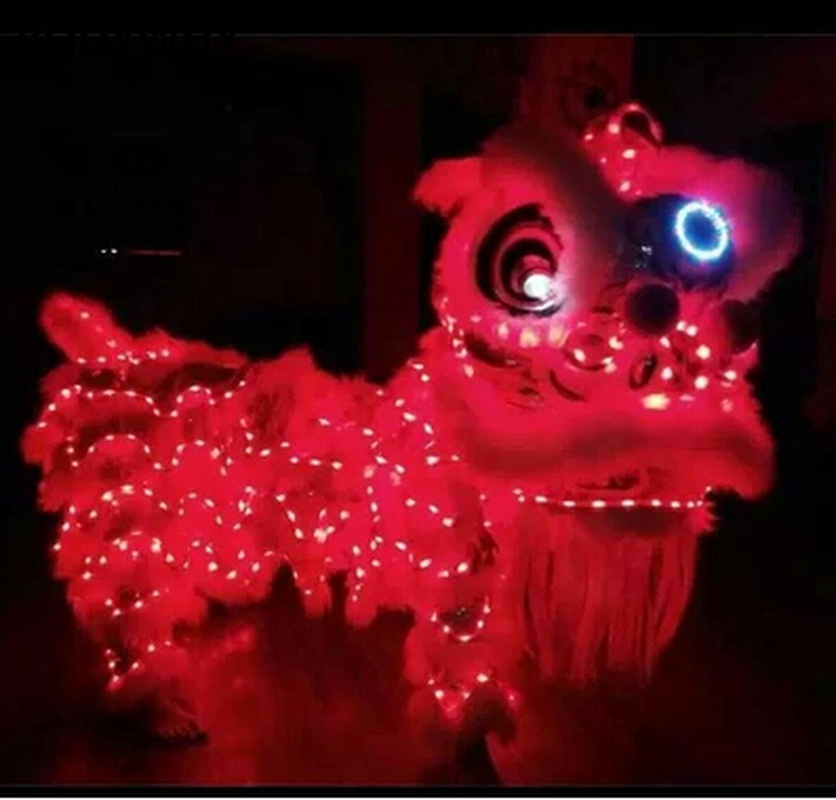 LED Light Lion Dance Mascot Costume Wool Chinese Lion Dancing Costume For Two Adults Outfit Southern Clothing Advertising Parade