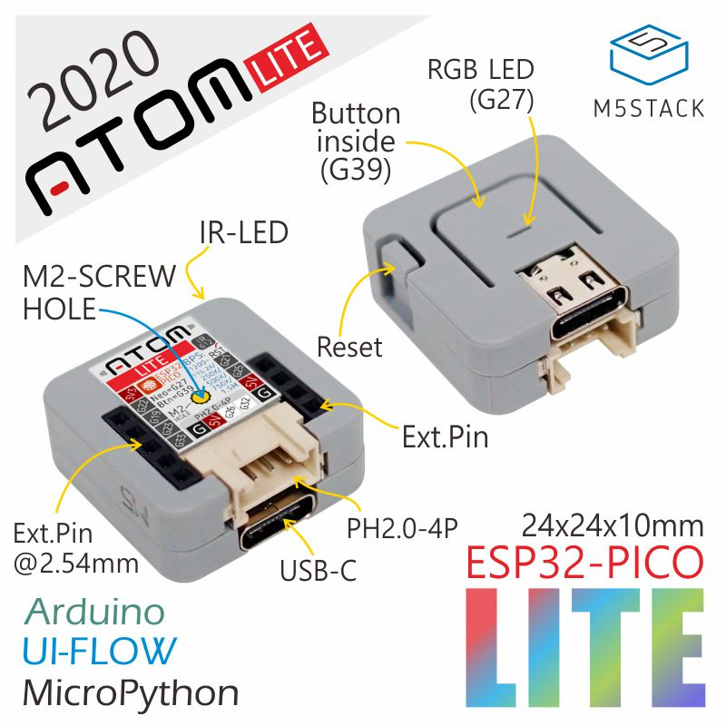 m5stack-2020-new-arrivial-official-atom-lite-esp32-development-kit-neo-led-arduino-blockly-programmable-kit