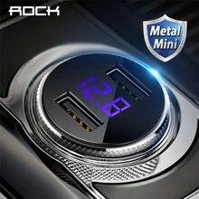 ROCK 5V 3.4A Metal Dual USB Car Charger Digital Display For