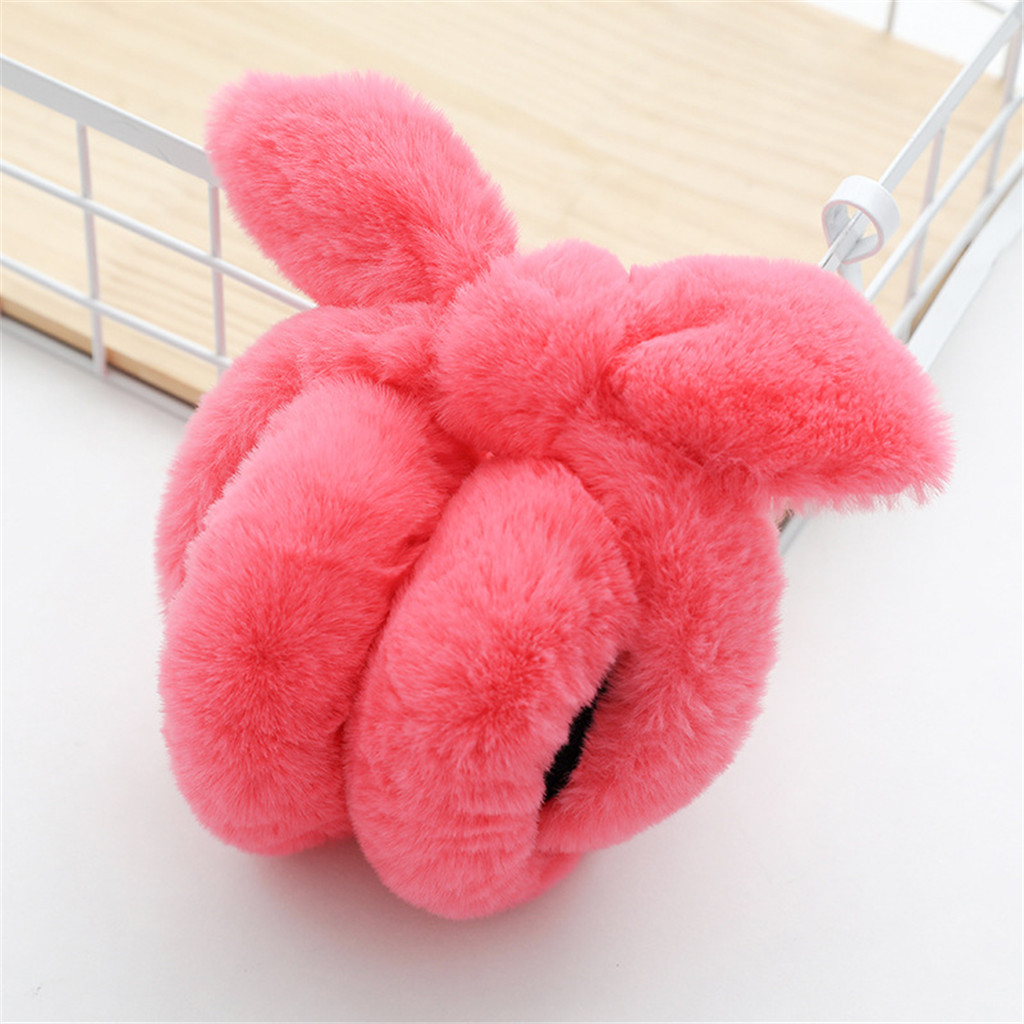 Earmuffs Women Cat Ears Winter Warm Ear Cute Plush Butterfly Knotting Ears Winter Warm Adjustable Earmuff Mujer