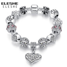 ELESHE Luxury Brand Women Bracelet Silver Color Crystal Charm Bracelet for Women DIY Beads Bracelets Bangles