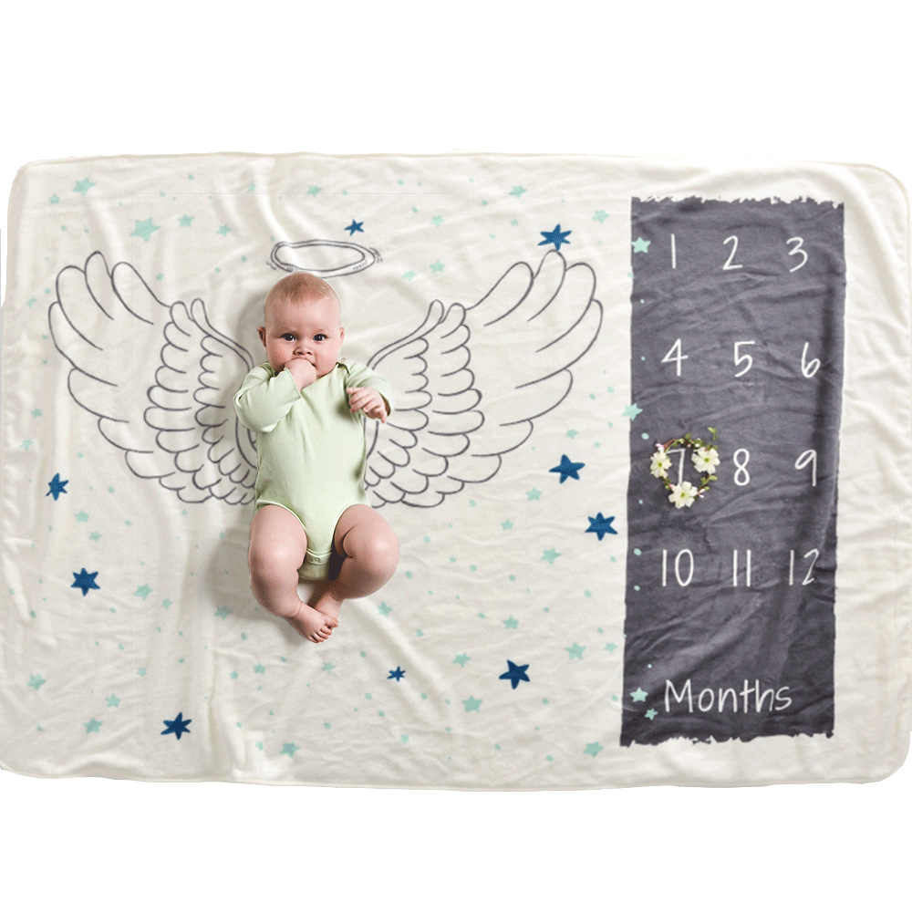 12 monatliche Baby Milestone Decke Monatliche Baby Decken Neugeborenen Weiche Baby Fotografie Requisiten Engel Flügel Hintergrund Decke foto
