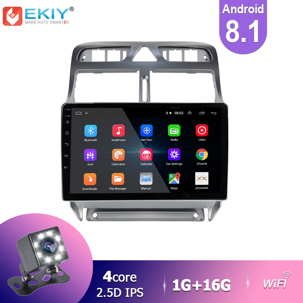 EKIY IPS Android 8.1 <font><b>Car</b></font> <font><b>Radio</b></font> For <font><b>Peugeot</b></font> <font><b>307</b></font> 2004-2013 Stereo Multimedia Video Player GPS Navigation BT HU Camera Wifi <font><b>USB</b></font> FM image