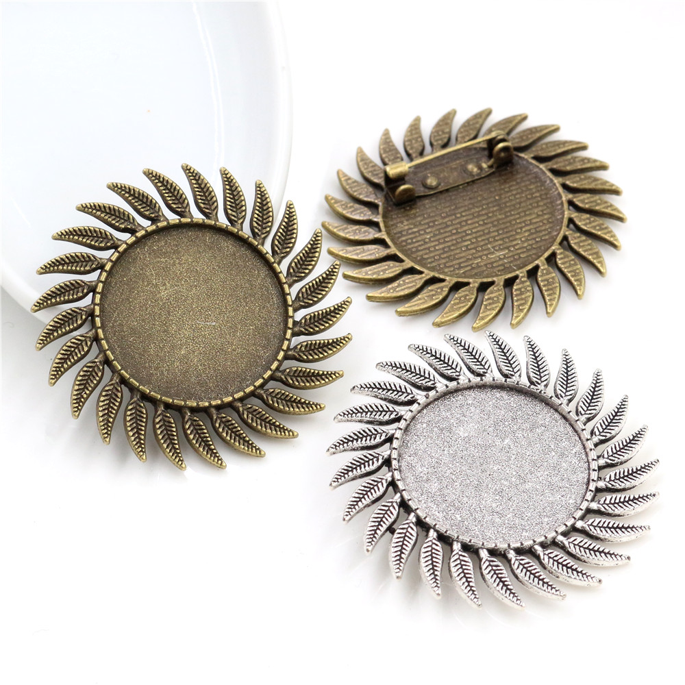 New Fashion  2pcs 25mm Inner Size Antique Silver Plated And Bronze Fashion Style Brooch Cabochon Base Setting