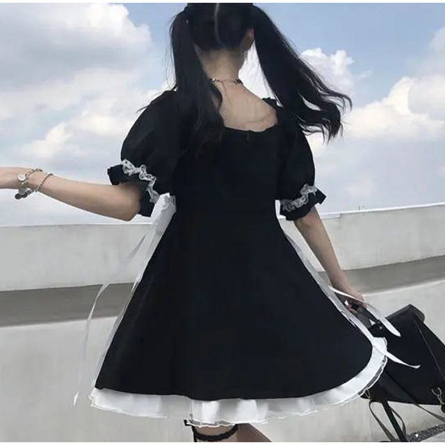 Japanese Summer Kawaii Soft Girly Dress Vintage Square Collar Cute Lace Lace Up Bow Sweety Ruffles Puff Sleeve Dress Black Dress 5