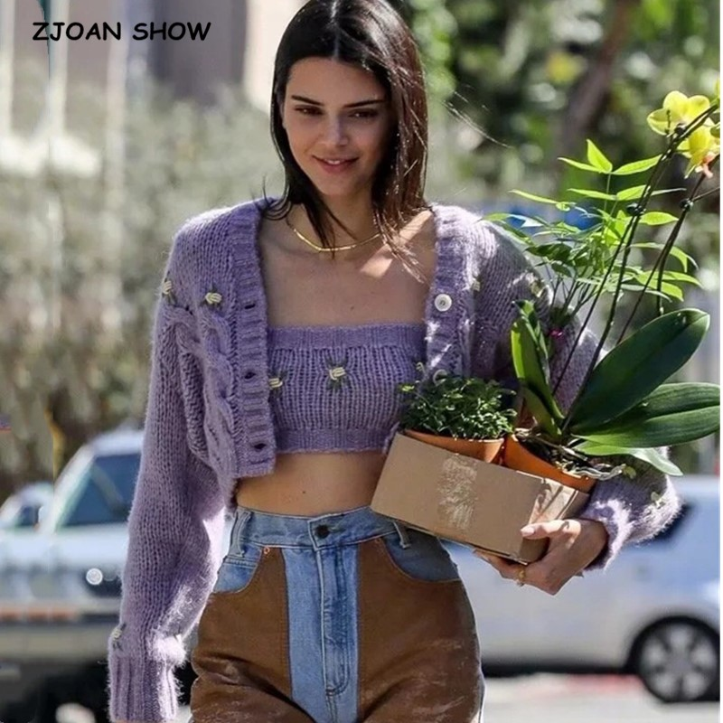 1 Set 2020 Spring Korea Style Vintage  Embroidery Flower Cardigan Tank Top V Neck Single-breasted Button Knitted Sweater Jumper