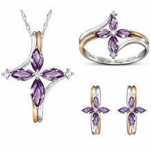 Модные женские роскошные геометрический циркон кольцо ожерелье