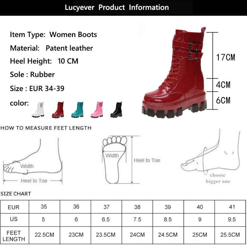 Lucyever seksi şeker renk kadınlar Patent deri çizmeler sonbahar kış diz yüksek çizmeler bayanlar moda kalın taban platformu botları