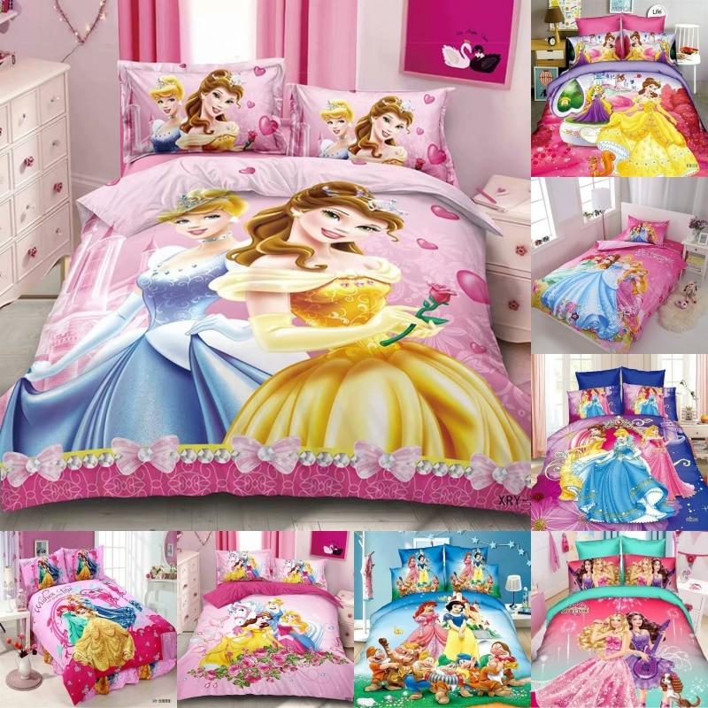 Disney  Cinderella Bella 2 Princess Rapunzel Girls Bedding Sets Kids Duvet Cover Bed Sheet Pillowcase Children Gift 1.2m Bed