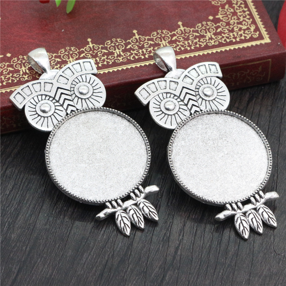 5pcs 30mm Inner Size Antique Silver Plated Owl Style Cabochon Base Setting Charms Pendant (B5-16)
