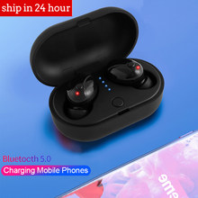 2019 Ini Tws Bluetooth 5.0 Benar Wireless Earphone Headphone Mini Nirkabel Earbud dengan MIC Handsfree Headset untuk Xiaomi iPhone(China)