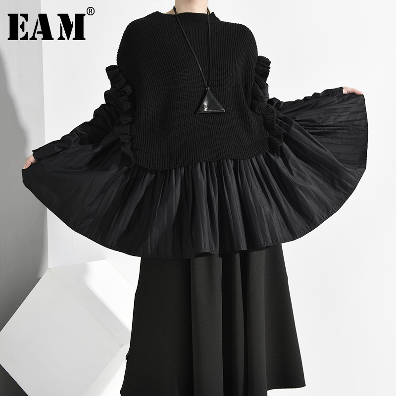 [EAM] Ruffles Big Size Knitting Sweater Loose Fit Round Neck Long Sleeve Women Pullovers New Fashion Spring Autumn 2020 1M62501