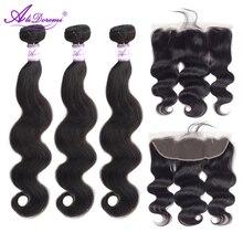 Brazilian Body Wave 3 Bundles With Lace Frontal Closure 13x4 Ear to Ear Hair Weave Bundles Alidoremi remy Human Hair