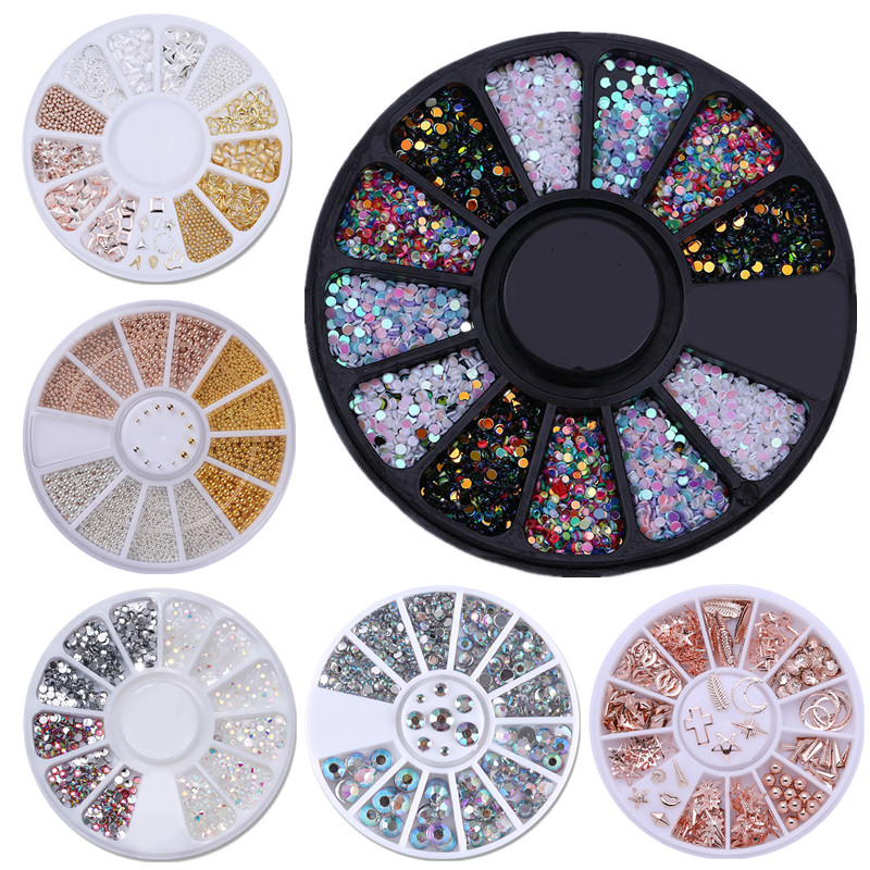 1Box Mixed Color Chameleon Nail Rhinestone Small Irregular Beads For Nail Art 3D Decoration In Wheel Design DIY Tips