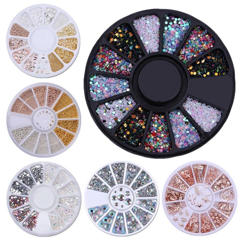 1Box Mixed Color Chameleon Nail Rhinestone Small Irregular Beads For Nail Art 3D Decoration In Wheel Design DIY Tips