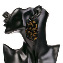 Vintage Geometric Acrylic Irregular Totem Drop Earrings for Women Leopard Large Resin Fashion Jewelry