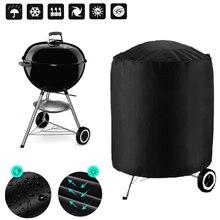 Capa para churrasco à prova d'água, capa redonda preta para proteção de chuva para churrasco ao ar livre, grelha para webber