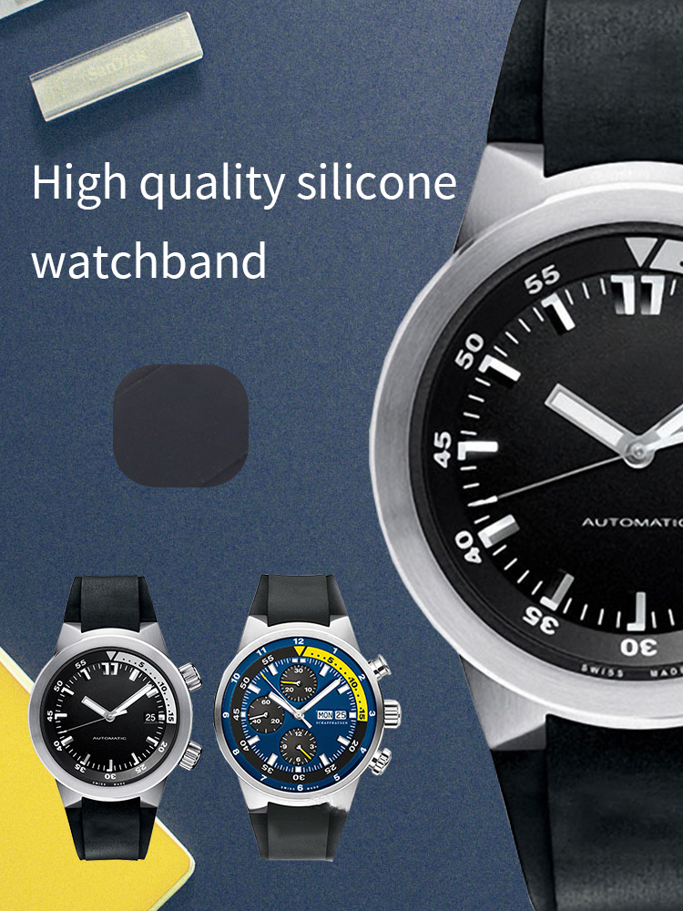 26*16mm Waterproof Diving Silicone Rubber Watchband Strap for IWC Watch Automatic Man Ocean IW354807 IW353804 Black with Tools