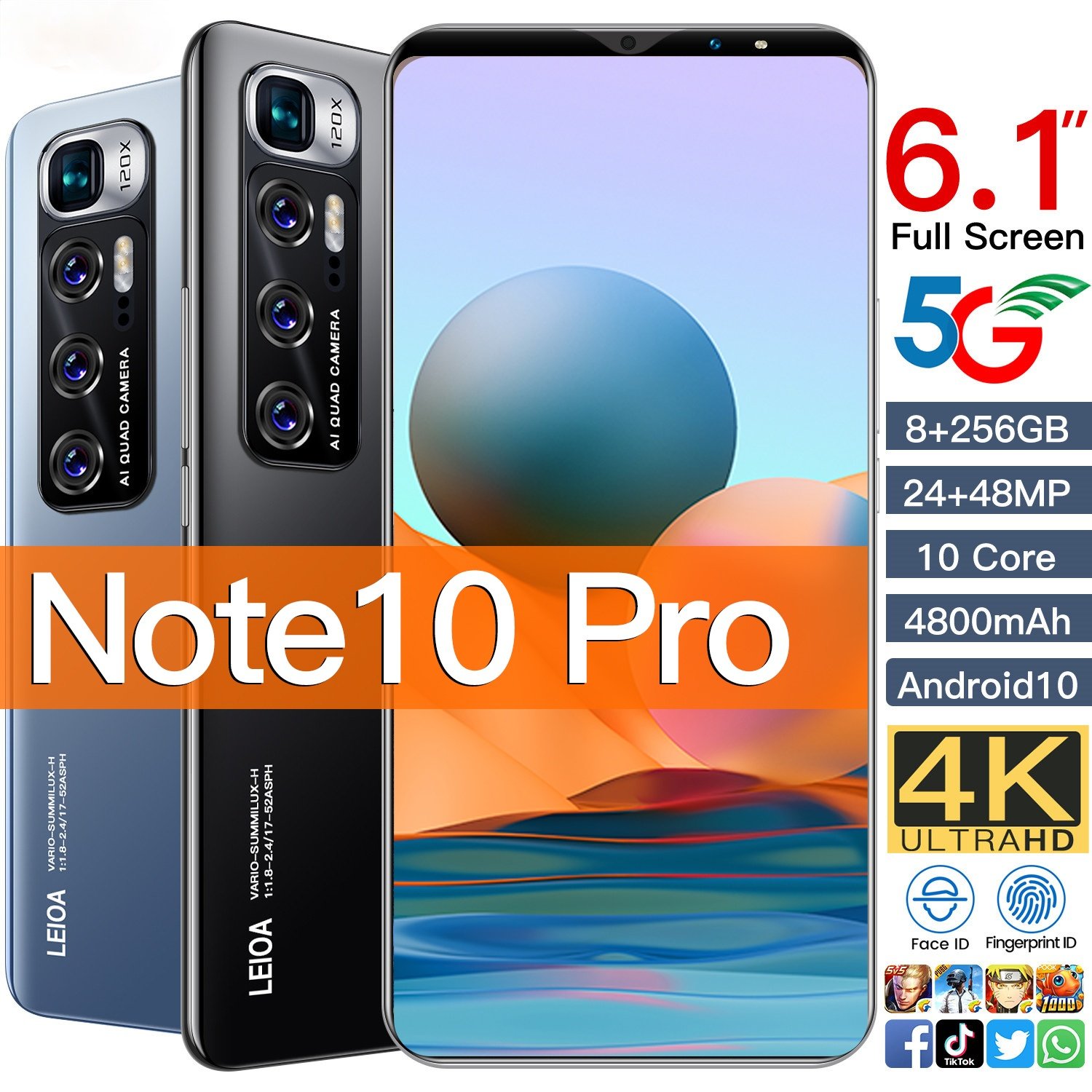 2021 Global Version Note 10 Pro 6.1 Inch Smartphone 8GB+256GB 4800mAh 24+48MP Android 10 Google Unlocked 5G Network Mobilephone