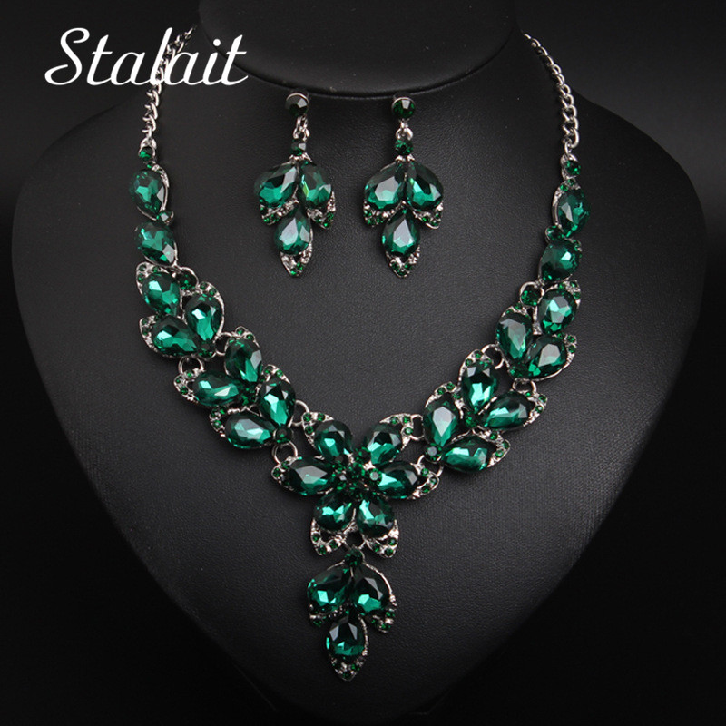 Classic Water Drop Crystal Flower Necklace Earring Bridal Jewelry Sets Wedding Silver Color Spring Chain Necklace Sets For Women
