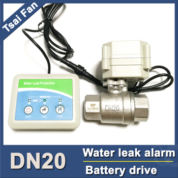 """battery powered water leak sensor with SS304 3/4"""" electric valve, can work for 2 years,smart home water leak alarm DC3V"""