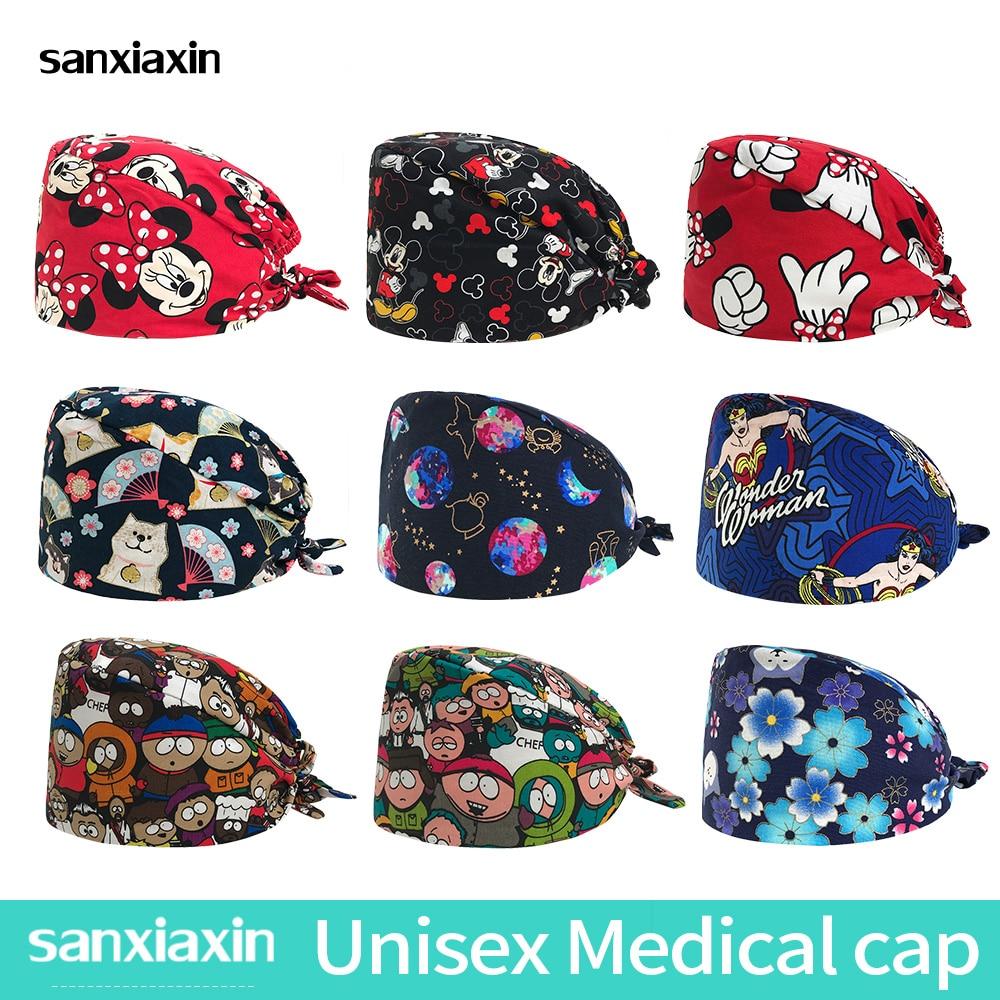 New Medical Scrubs Pharmacy Lab Coat Scrubs Medical Uniforms Women Surgical Cap Nurse Uniform Surgery Cap Sailor Moon Doctor Hat