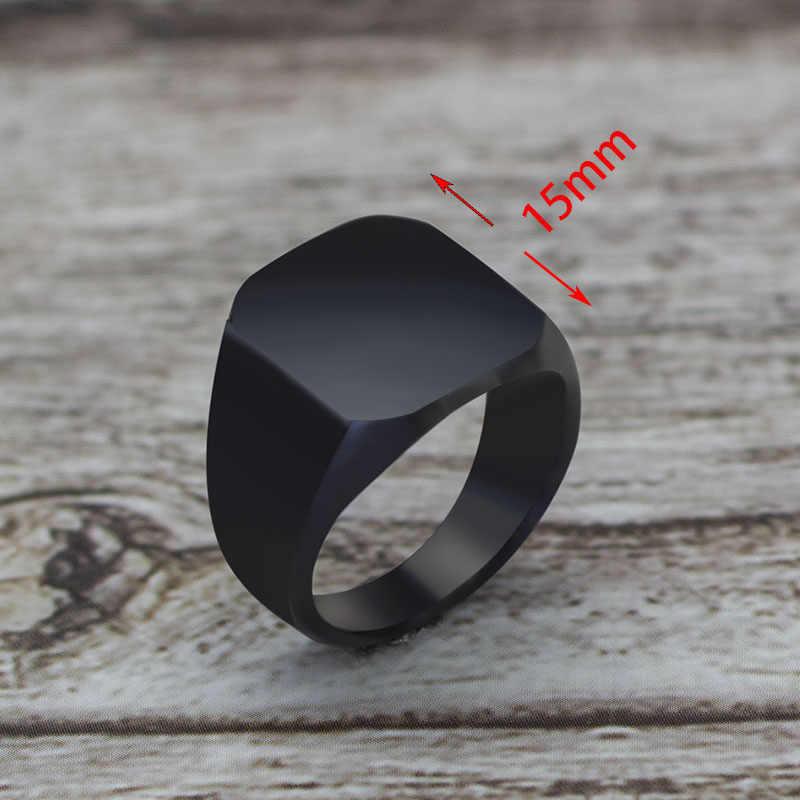 2019 אופנה פשוט סגנון שחור כיכר טבעת קלאסי טבעת חתונה תכשיטי אירוסין