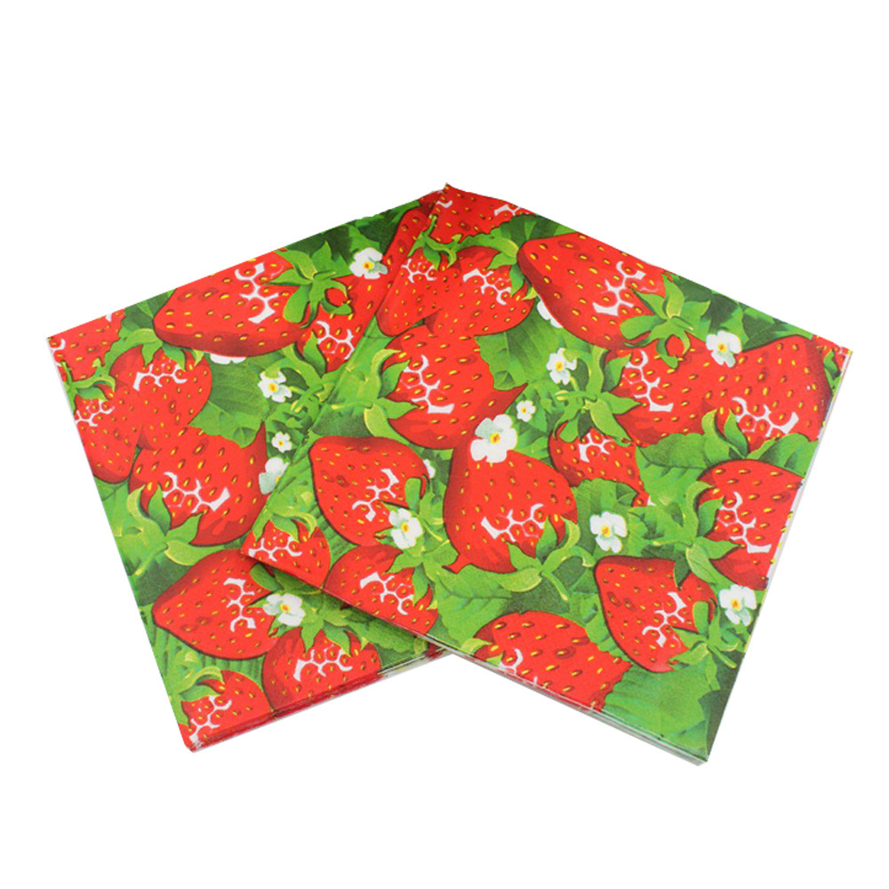 [] New Listing Fruit Series Napkin Multi-color Printed Napkin Tissue Paper
