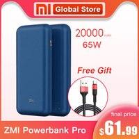 2019 NEW Xiaomi ZMI Powerbank PRO 20000mAh Fast Charge No.10 Pro QB823 65W 20000 mAh Power Bank for iPhone iPad Notebook