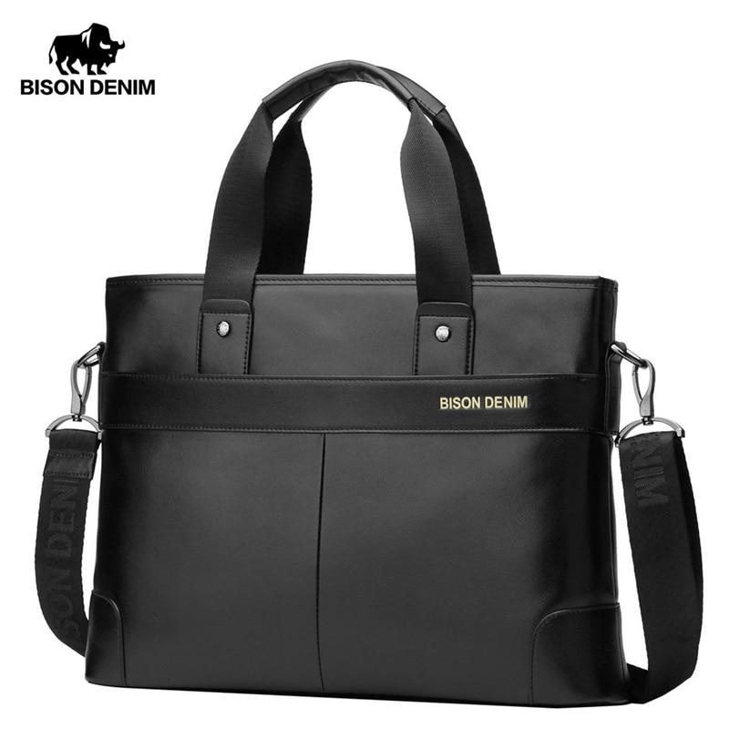 Bison Denim 100% Cowhide Genuine Leather Briefcase Men Business Laptop Office Messenger Bags Travel Shoulder Briefcase N2195-1
