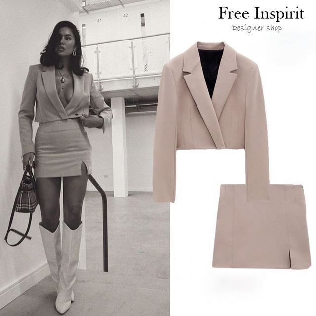 Spring New Women's Solid Short Suit Coat Solid Lapel Concealed Button Design Slim Split Mini Skirt Solid Color Suit 2