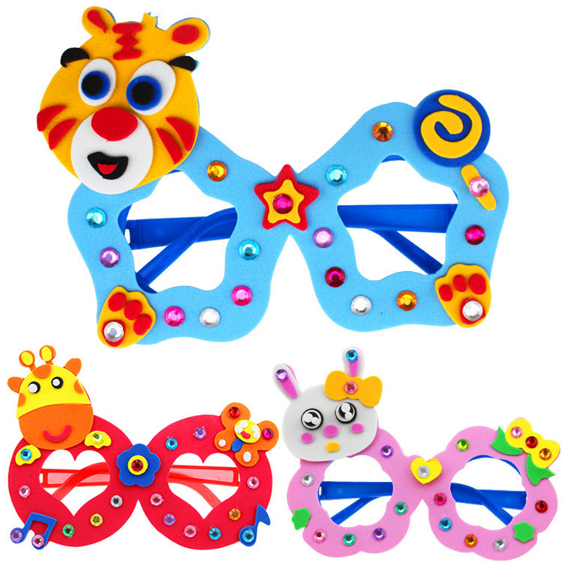 New arts crafts diy toys Cartoon Glasses Baby crafts kids Puzzles educational for children s toys Fun party diy girl boy gift 02