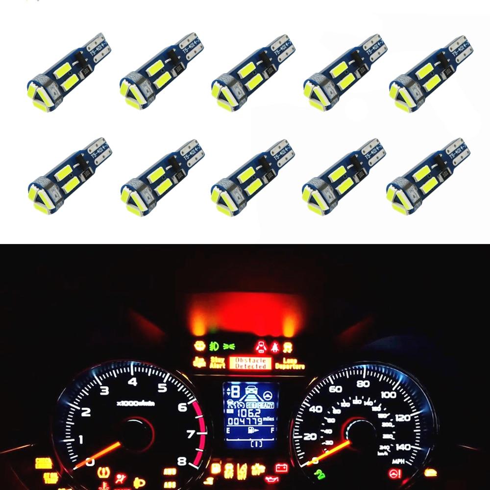 10pcs T5 led Bulbs W3W 37 73 74 Auto LED Lamp Car Dashboard Instrument Light Bulb 12V white blue red yellow green pink