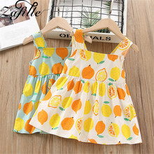ZAFILLE Baby Girl Clothes Sleeveless Toddler Summer Dress Cotton Girls Clothing Fashion Kids Clothes 2020 New Fruit Print Dress new summer toddler kids baby girl sleeveless backless cartoon girls print princess dress sundress clothes