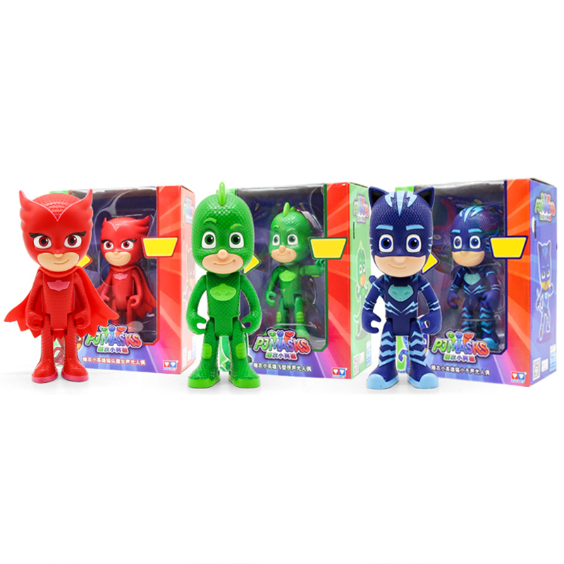 2018 Original Pj Masks Cartoon Acousto-optic Model Toy Catboy OwlGilrs Gekko Masks Figures Anime Toys For Children Gift
