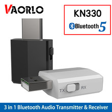 Kn330 usb bluetooth 5.0 transmissor receptor bt 3.5mm aux jack 3 em 1 estéreo áudio música sem fio bluetooth adaptador para tv carro(China)