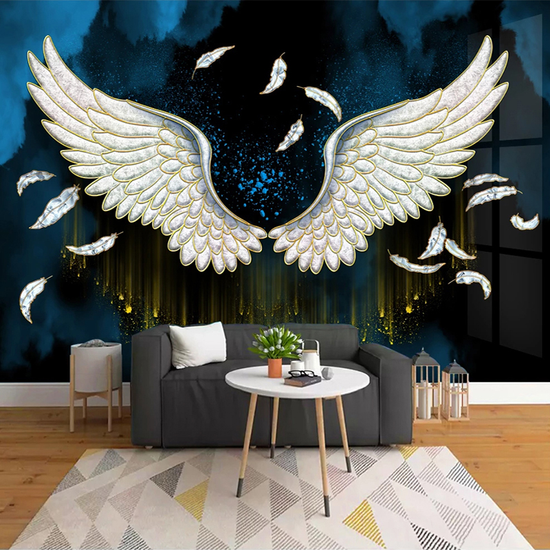 Custom Mural Modern 3D Stereoscopic Feather Wings Art Wall Painting Living Room Sofa TV Background Decorative Wallpaper Murals