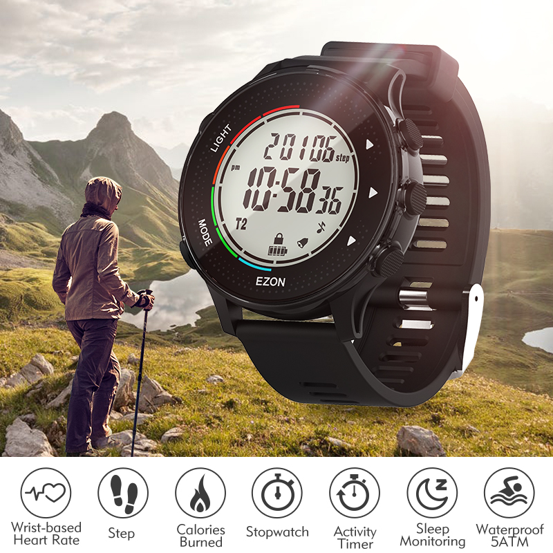 Digital men'sport Watches  with Pedometer Stopwatch Heart Rate  Timer Waterproof 50M for Outdoor Running  lap alarm step counter