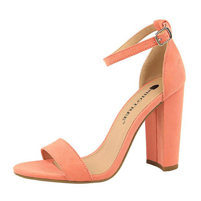 2020 Baru Wanita Pompa Gesper Sepatu Wanita High Heels Seksi Blok Tumit Sepatu Pesta Wanita Tumit Suede Sandal Wanita PLUS ukuran 43