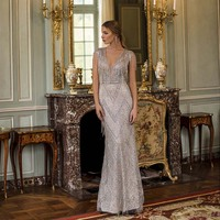 Couture 2020 Luxury Rhinestones Long Evening Dresses Mermaid Deep V Neck Beaded Evening Gown Pageant Cap Sleeve YQLNNE