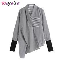купить Korean Fashion Clothing Women Shirts Black Striped Asymmetrical Split Joint Blouse Long Sleeve Loose Fit Women Blouses and Tops дешево