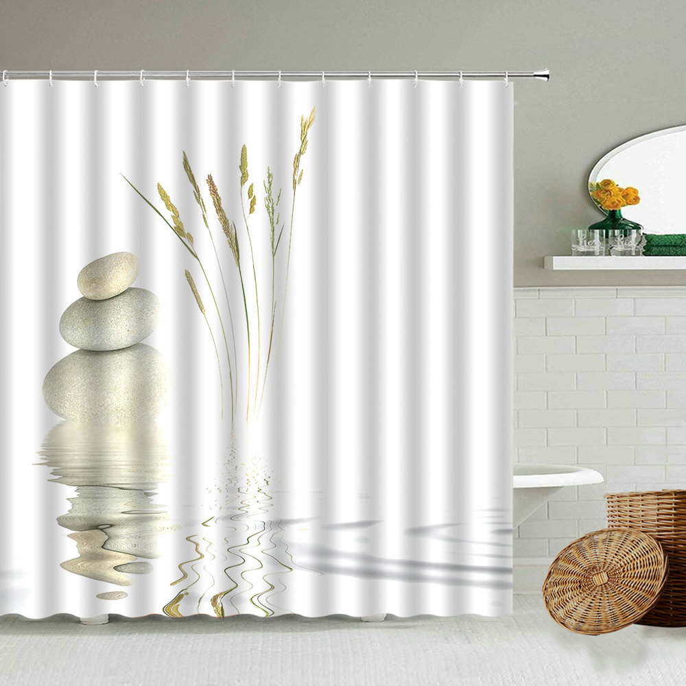 Zen Stone Pebbles Spring Weeds Reflection Water Bathroom Waterproof Shower Curtain With Hook Set Hanging Screen Cloth  Washable