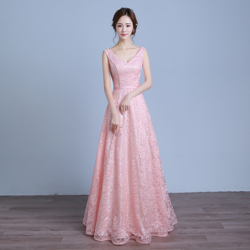 One-Piece 2019 New Style Lace Banquet Late Formal Dress Long Bride Formal Dress Pink Bridesmaid Dress