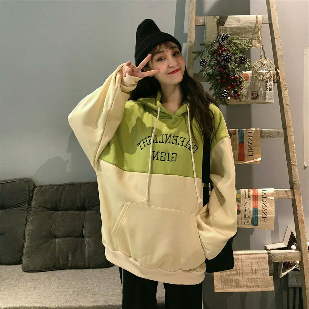 Korea Oversized Hoodie Women Solid Top Hooded Patchwork Streetwear Letter Print Cropped Long Sleeve Sweatershirt Sudadera Mujer