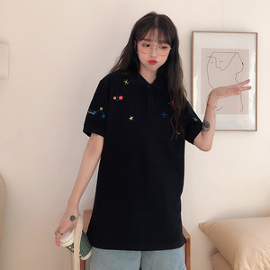 Image 4 - נשים רקום חולצות צווארון למטה קוריאני פולו חולצה קצר שרוול T חולצה גרפי הדפסת Tees חולצה רחב מימדים אופנה שיק