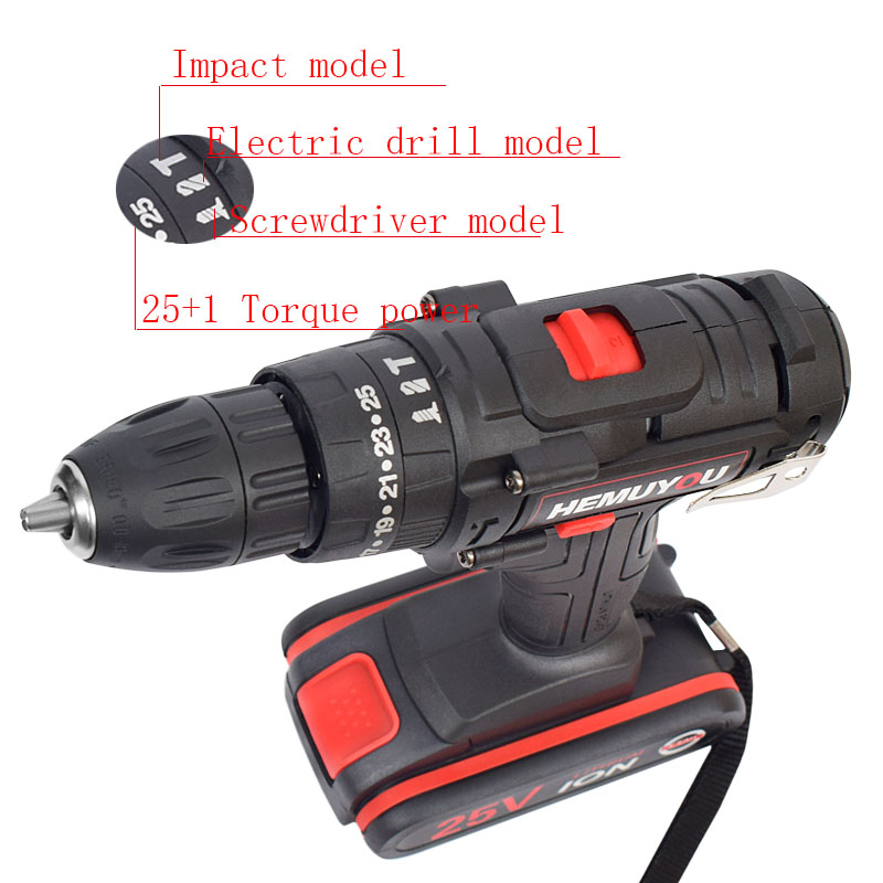Image 2 - 25V Power Tool Electric Screwdriver lithium Battery Rechargeable Electric Drill Multi function Cordless Impact DrillElectric Drills   -