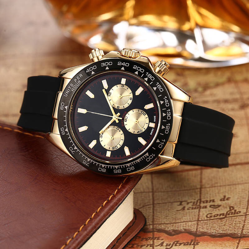 luxury 40mm small three needle quartz leather belt mens gold watches analog men designer watch wholesale men gifts wristwatch