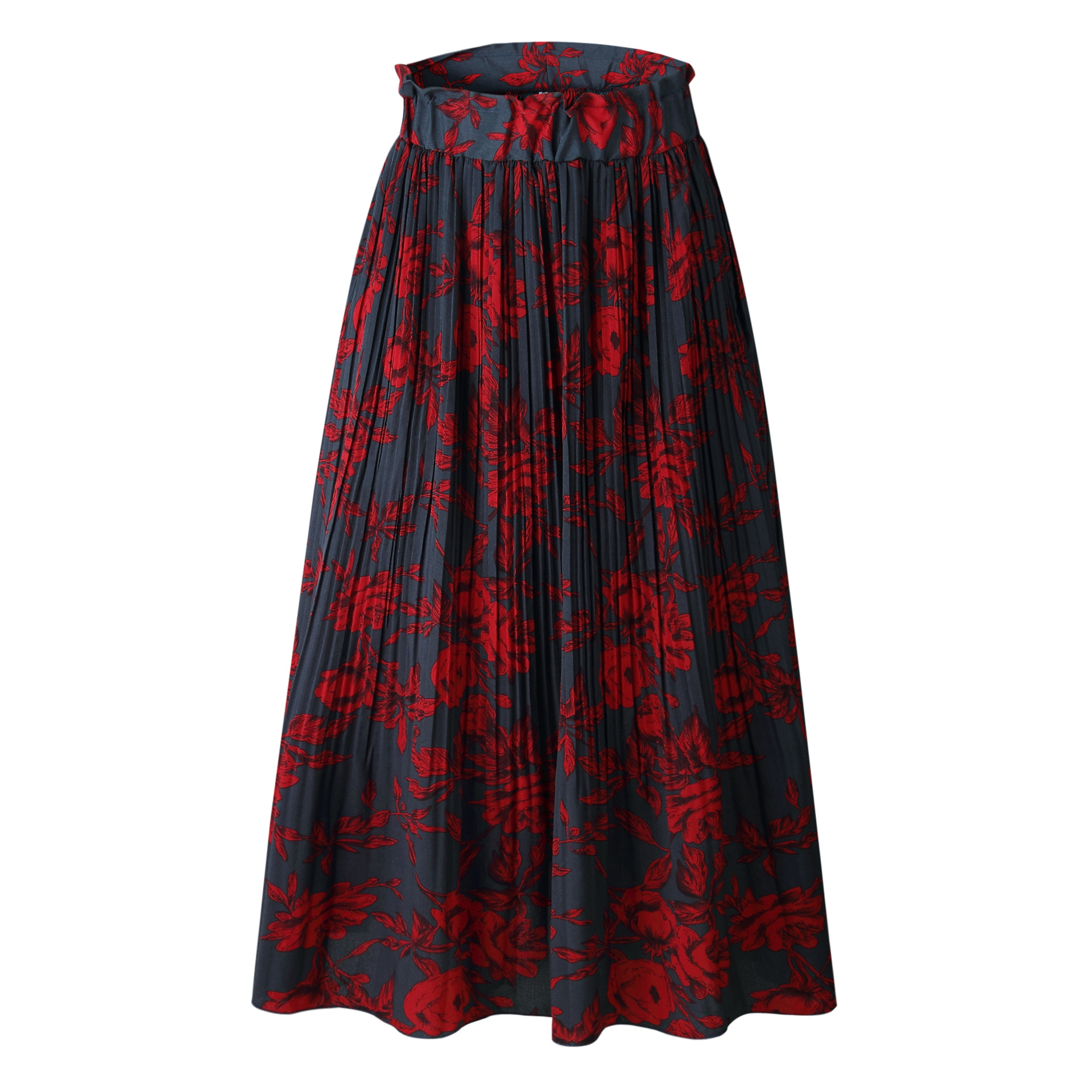H8fd150ebbcf045ecb446ea22507463733 - Summer Casual Chiffon Print Pockets High Waist Pleated Maxi Skirt Womens Long Skirts For Women