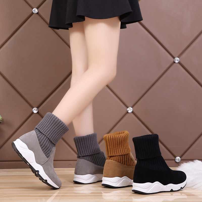 Năm 2020 Thời Trang Đan Vớ Giày Căng Mắt Cá Chân Giày Người Phụ Nữ Mềm Mại Biến-Trên Tuyết Giày Nữ Lông Thú Sang Trọng Nền Tảng Dày botas