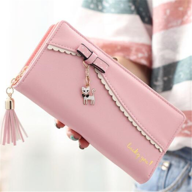 PU Leather Long Wallet Women Card Holder Purse Sweet Bow Cute Cat Pendant Tassel Ladies Clutch Phone Money Coin Bag Portemonnee